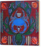 Crab Turtle Mola Wood Print