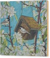 Crabapple Chickadees Wood Print