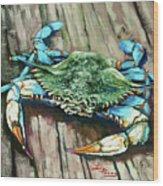 Crabby Blue Wood Print