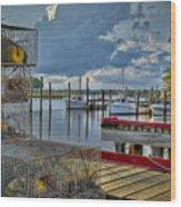 Crabpots And Fishing Boats Wood Print