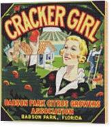 Cracker Girl Citrus Crate Label C. 1920 Wood Print