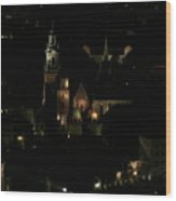 Cracow By Night Wood Print