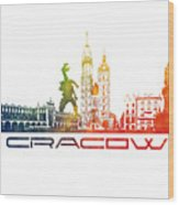 Cracow City Skyline Color Wood Print