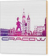 Cracow City Skyline Purple Wood Print