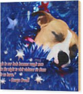 Cradled By A Blanket Of Stars And Stripes - Quote Wood Print