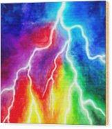 Rainbow Color Lightning Wood Print