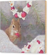 Cranberry Garlands Christmas Squirrel Wood Print