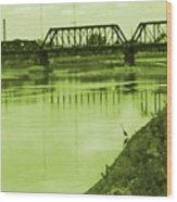 Crane At The River Wood Print