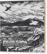 Crane Flying Past The Cedar Breaks Wood Print