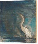 Crane Wood Print by Gregory Dallum