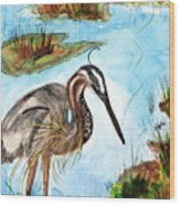 Crane In Florida Swamp Wood Print