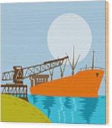 Crane Loading A Ship Wood Print by Aloysius Patrimonio