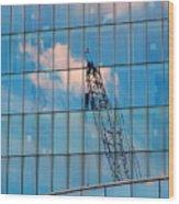 Crane Reflection - Atlantic City Wood Print
