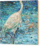 Crane Reflection Wood Print