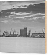 Cranes At The Port Of Thessaloniki Wood Print