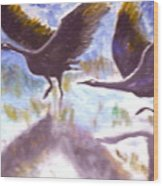 Cranes N Flight Wood Print