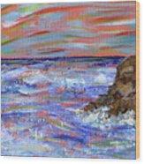 Crashing Of The Waves Wood Print