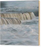 Crashing Sea Waves And Small Waterfalls Wood Print