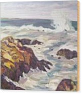 Crashing Wave On Maine Coast Wood Print