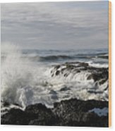 Crashing Waves At Cape Perpetua Wood Print