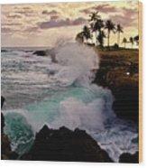 Crashing Waves At Sunset Wood Print