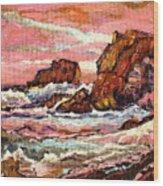 Crashing Waves At Sunset  Majestic Seascape Wood Print