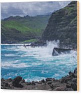 Crashing Waves - Nakalele Point  Wood Print