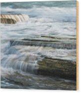 Crashing Waves On Sea Rocks Wood Print