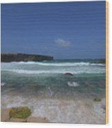 Crashing Waves Rolling Ashore On The Island Of Aruba Wood Print