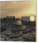 Craster Harbour In Winter 2 Wood Print