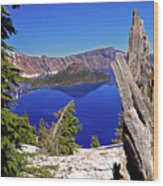 Crater Lake And Wizard Island Wood Print