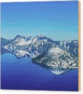 Crater Lake Blue Wood Print