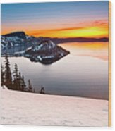 Crater Lake Dawn Wood Print