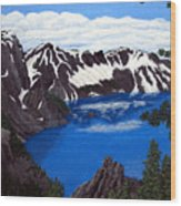 Crater Lake Wood Print by Frederic Kohli