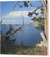 Crater Lake Perspective Wood Print