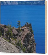 Crater Lake Point Overlook Wood Print