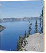 Crater Lake Scenic Panorama Wood Print