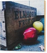 Crates Of Apples Wood Print