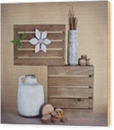 Crates With Flower Still Life Wood Print