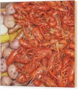 Crawfish Boil Wood Print