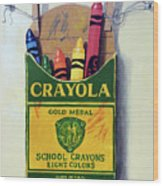 Box Of Crayons Painting Wood Print
