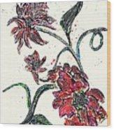 Crayon Flowers Wood Print