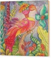 Crazy Bird 1 Wood Print