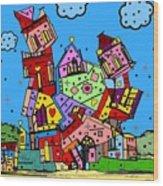 Crazy Building Popart By Nico Bielow Wood Print