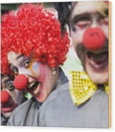 Crazy Circus Clowns Wood Print