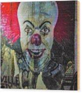 Crazy Clown Wood Print