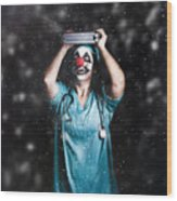 Crazy Doctor Clown Laughing In Rain Wood Print