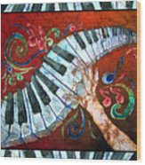 Crazy Fingers- Piano Keyboard - Bordered Wood Print