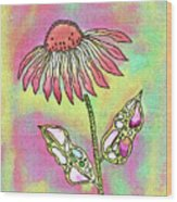 Crazy Flower With Funky Leaves Wood Print