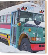 Crazy Painted Old School Bus In The Snow Wood Print